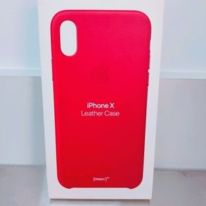 iPhone X Leather Case Red